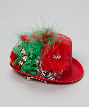 Red & Green Flower & Feather Top Hat