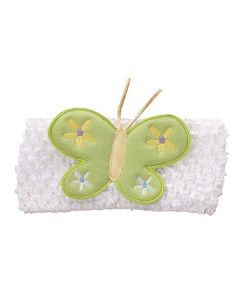 GANZ White & Green Butterfly Crocheted Headband
