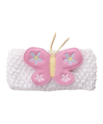GANZ White & Pink Butterfly Crocheted Headband