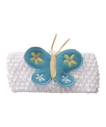 GANZ White & Blue Butterfly Crocheted Headband