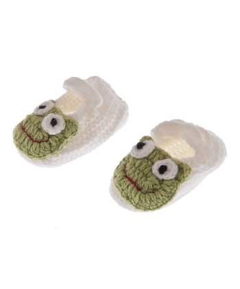GANZ White & Green Crocheted Frog Bootie