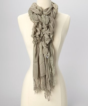 Gray Gathered Scarf
