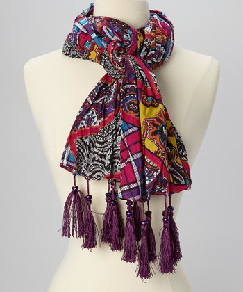 Hot Pink & Purple Paisley Beaded Tassel Scarf
