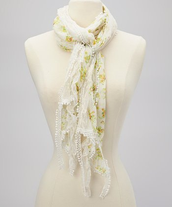 Ivory & Yellow Floral Embroidered Scarf