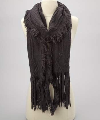 Black Knit Fringe Scarf