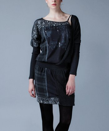 Black Embroidered Drape Dress