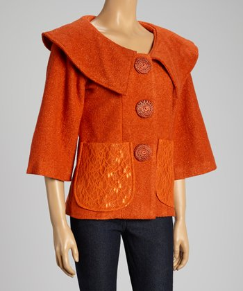 Orange Button-Up Silk-Blend Jacket