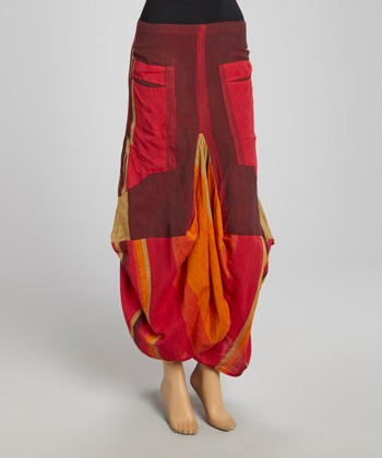 Red Patchwork Jhular Skirt