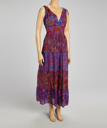 Purple Patchwork Floral Maxi Dress
