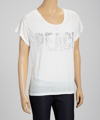 White Studded 'Peace' Tee