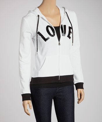 White 'Love' Zip-Up Hoodie