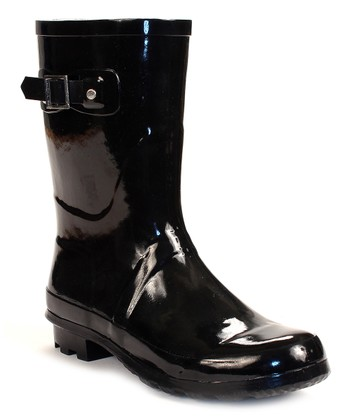 Black Patent Mid-Calf Rain Boot