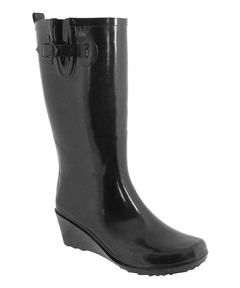 Black Wedge Rain Boot