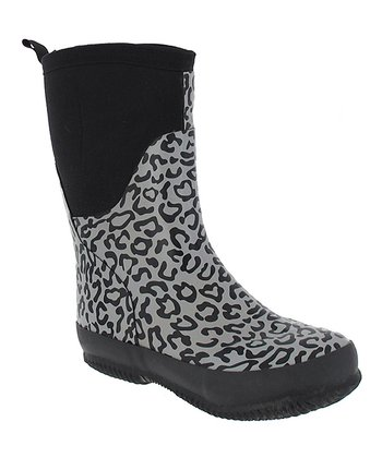 Black Leopard Rain Boot