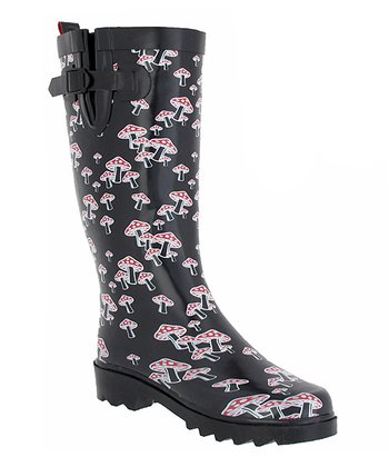 Black & Red Mushrooms Rain Boot