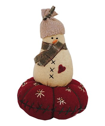Snowman on Cushion Plush Figurine