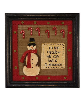 Snowman Candy Cane Framed Wall Art