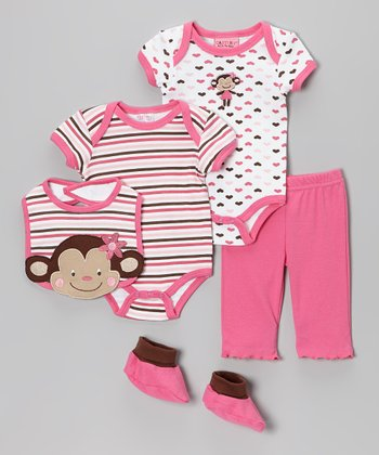 White & Pink Monkey Bodysuit Set
