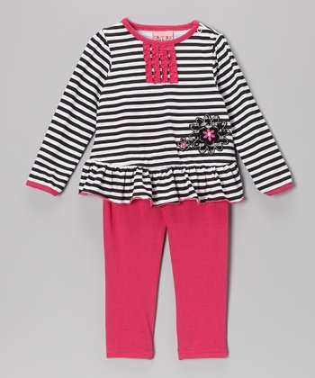 White Stripe Ruffle Top & Pink Leggings