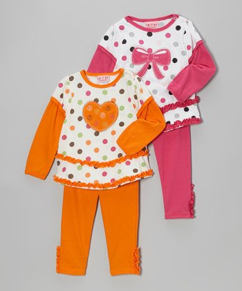 Orange Polka Dot Heart Layered Tunic Set