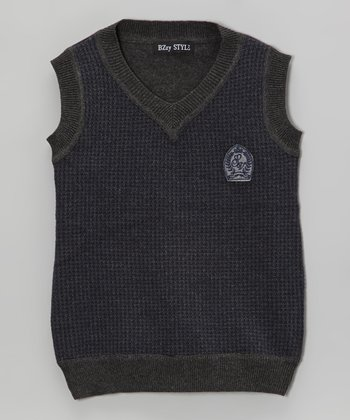 Navy & Charcoal Houndstooth Sweater Vest - Toddler & Boys