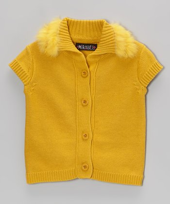 Yellow Faux Fur Trim Sweater - Girls