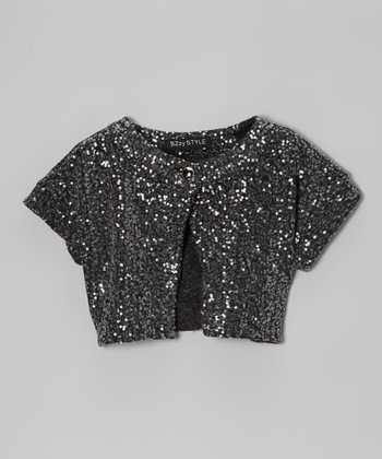 Charcoal Gray Sequin Shrug - Girls