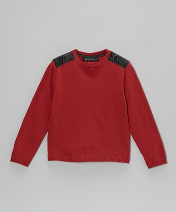 Rust Faux Leather Panel Sweater - Kids