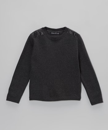 Charcoal Faux Leather Panel Sweater - Kids