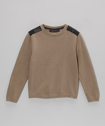 Beige Faux Leather Panel Sweater - Kids