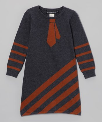 Gray Stripe Tie Sweater Dress - Toddler & Girls