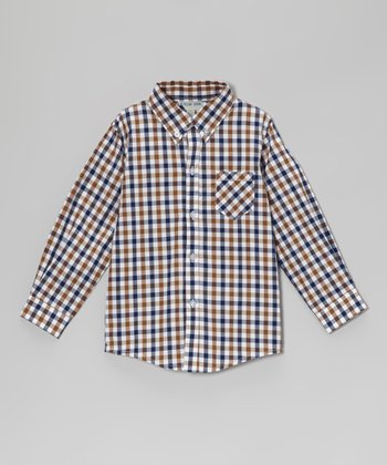 Green & Blue Gingham Button-Up - Boys