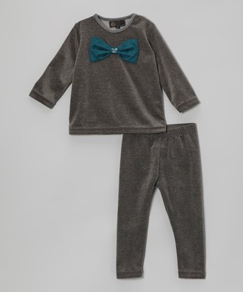 Charcoal Bow Top & Pants - Infant, Toddler & Girls