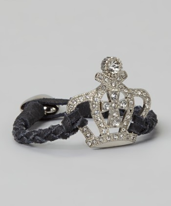 Black Rhinestone Crown Leather Bracelet