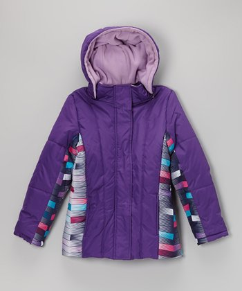 Winter Violet & Navy Stripe Quilted Jacket
