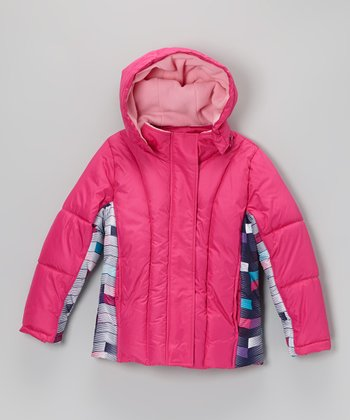 Berry Pink & Navy Stripe Quilted Jacket