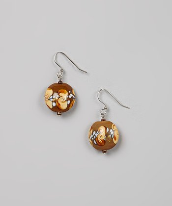 Brown & Yellow Bead Earrings