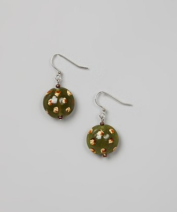 Green & Cream Bead Earrings
