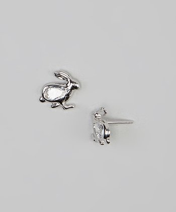 Cubic Zirconia & Sterling Silver Rabbit Earrings