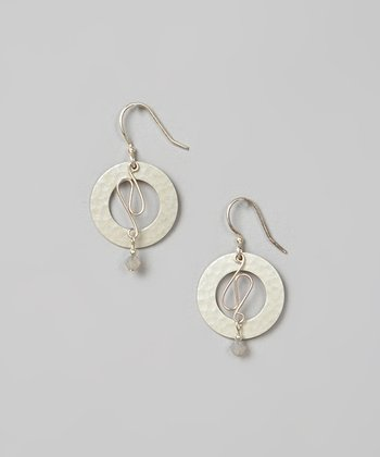 Gray Crystal & Sterling Silver Circle Earrings