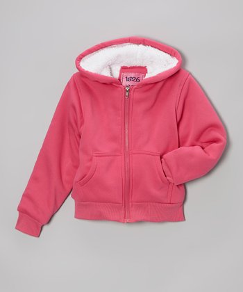Pink Sherpa Lining Zip-Up Hoodie - Girls