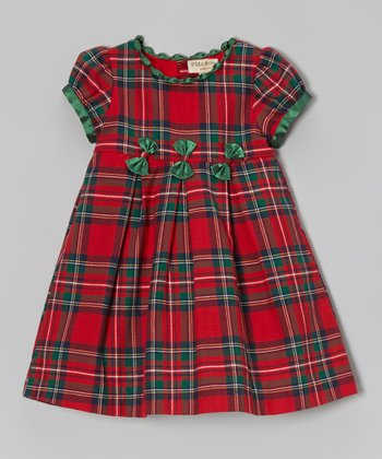 Red & Green Plaid Bow Dress - Infant & Girls