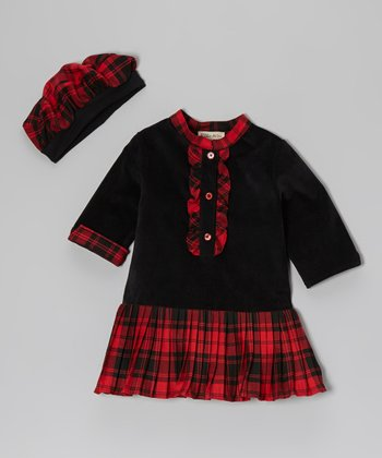 Black & Red Plaid Ruffle Corduroy Dress & Beret - Toddler & Girls