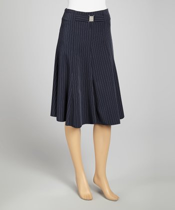 Navy Pinstripe Skirt