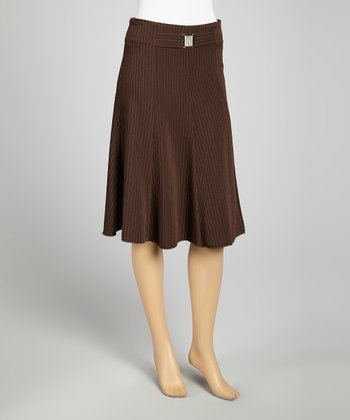 Brown Pinstripe Skirt