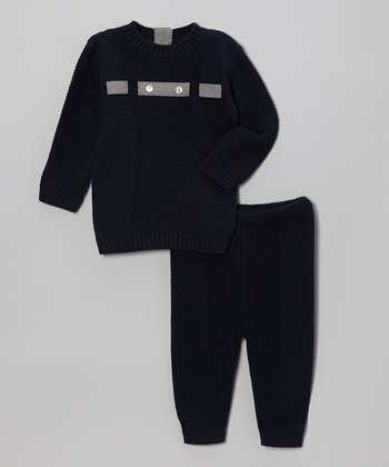 Navy & Gray Sweater & Leggings - Infant & Toddler