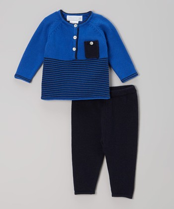 Royal Blue Stripe Sweater & Leggings - Infant