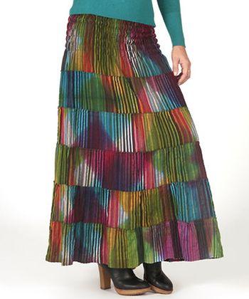 Fuchsia & Yellow Patchwork Shirred Skirt