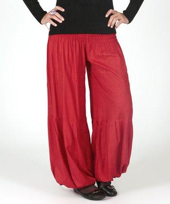 Red Shirred Harem Pants