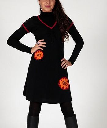 Black & Red Floral Ruched Short Sleeved V-Neck Dress